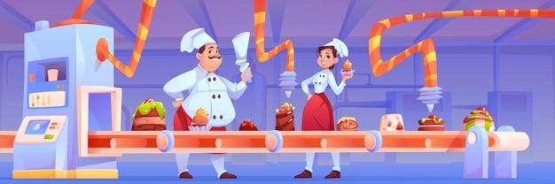 Konditoren in der süßwarenfabrik dekorieren die schokoladenproduktion auf dem förderband mit süßen desserts, backwaren und kuchen, die im einklang mit dem automatisierungs- und fertigungssystem stehen. Kostenlosen Vektoren