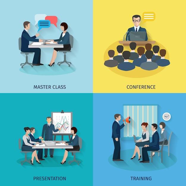Konferenz-Flat-Set Kostenlose Vektoren