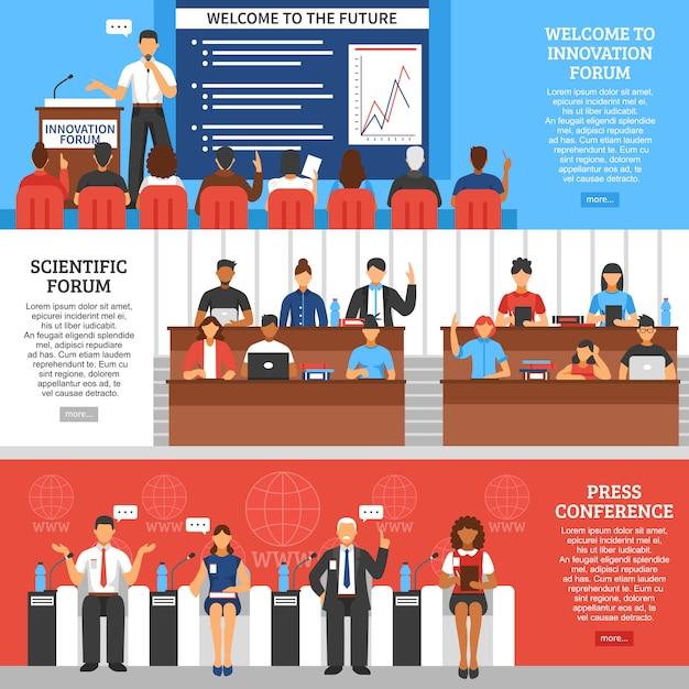 Konferenzpräsentationsbanner eingestellt Kostenlosen Vektoren