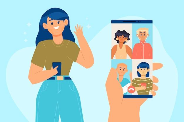 Konferenzvideoanruf zwischen freunden auf dem handy Kostenlosen Vektoren