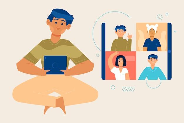 Konferenzvideoanruf zwischen freunden Kostenlosen Vektoren
