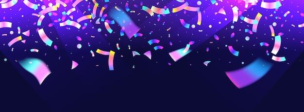 Konfetti-hintergrund mit einer bunten explosion. ein hologramm mit einem leichten glitch-effekt. ein abstraktes banner Premium Vektoren