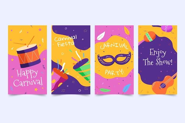 Konfetti und musikinstrumente karneval party social media geschichten Kostenlosen Vektoren