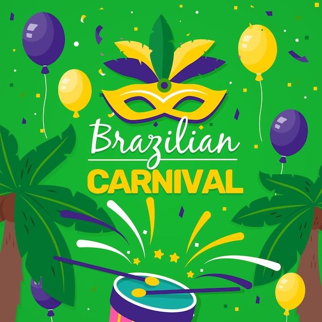 Konfettis und ballone übergeben gezogenen brasilianischen karneval Kostenlosen Vektoren