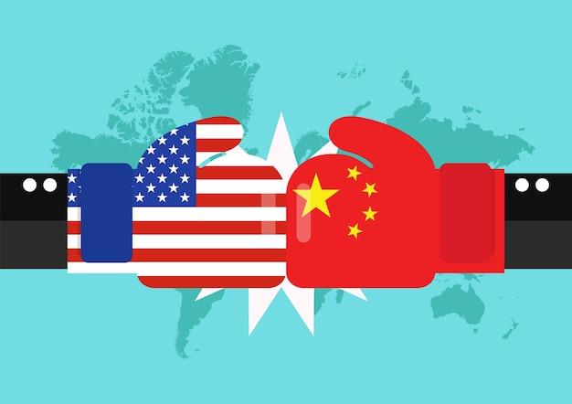 Konflikt zwischen usa und china mit weltkartehintergrund | Premium-Vektor