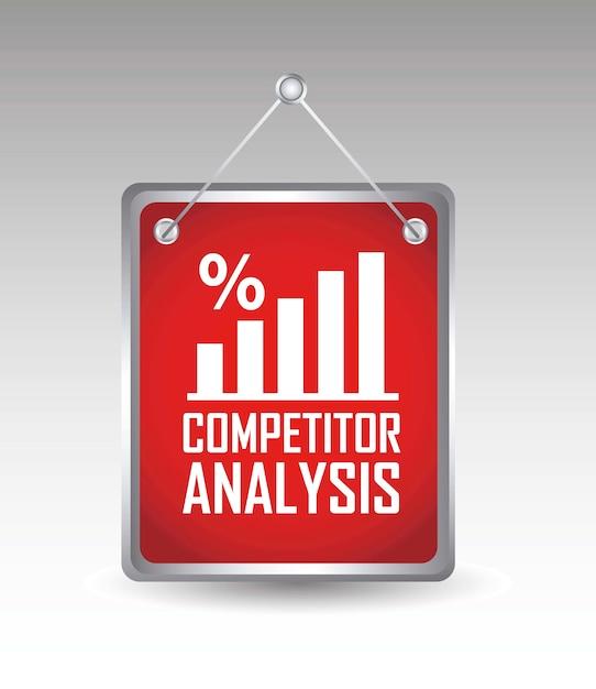 Konkurrenzanalyse ankündigung über grauem hintergrund vektor Premium Vektoren