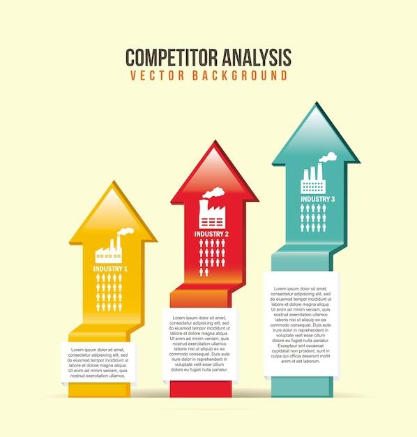 Konkurrenzanalyseillustration mit pfeilvektorhintergrund Premium Vektoren