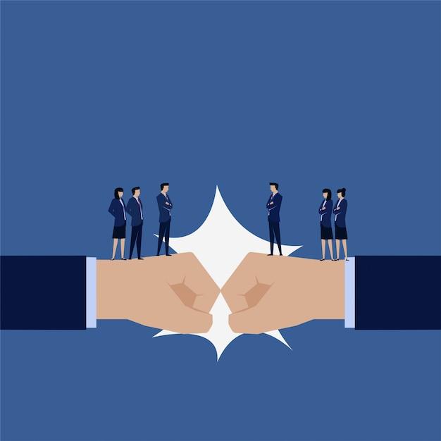 Konkurrenzkampf des business-teams Premium Vektoren