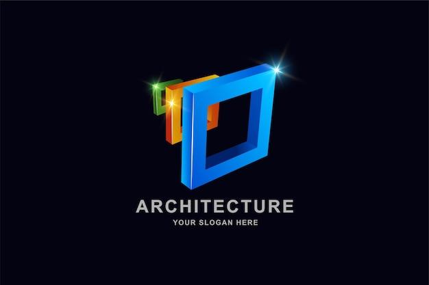 Konstruktion 3d-rahmen quadratisches logo-design Premium Vektoren