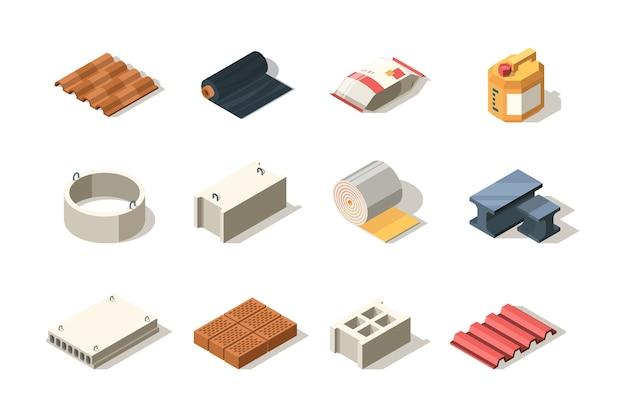 Konstruktion. material für industriebauer holzziegel pfahlrohre sandbitumenplattendach isometrisch. illustration stahlkonstruktionsdach, betonmaterial, sand und ziegel Premium Vektoren