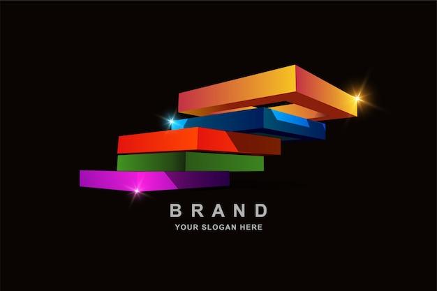 Konstruktions-3d-rahmenquadrat- oder treppenlogoentwurf Premium Vektoren