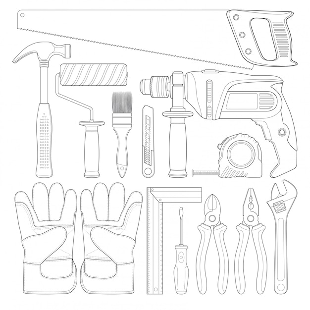 Konstruktionswerkzeuge linear setzen alle werkzeuge ein Premium Vektoren