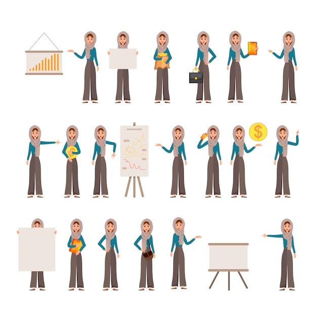 Konstruktorsatz weibliche charaktere. mädchen mit finanzattributen auf weißem hintergrund. Premium Vektoren