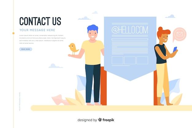 Kontaktieren sie uns konzept für die landing page Kostenlosen Vektoren