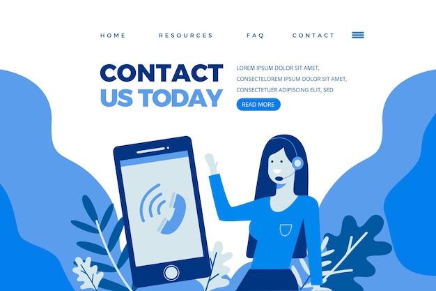 Kontaktieren sie uns landing page template Kostenlosen Vektoren