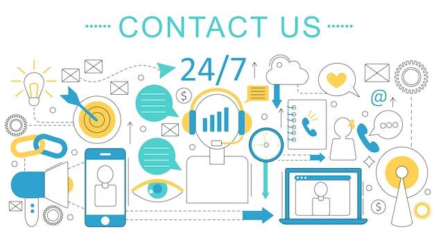 Kontaktieren sie uns, supportkonzept Premium Vektoren