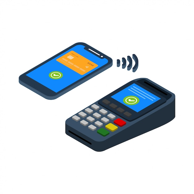 Kontaktlose zahlungstechnologie Premium Vektoren