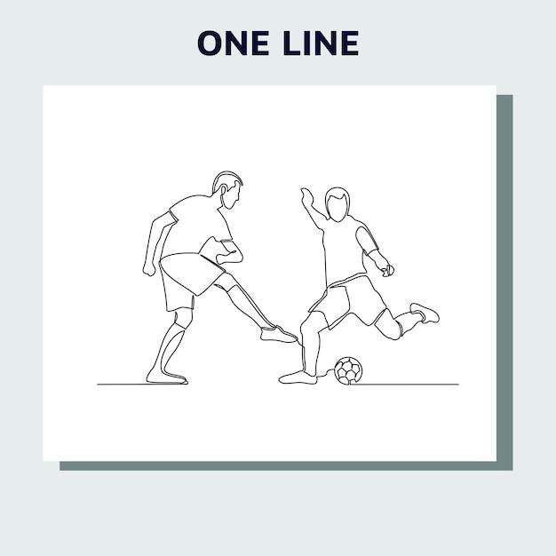 Kontinuierliche strichzeichnung von running soccer football-spielern. Premium Vektoren