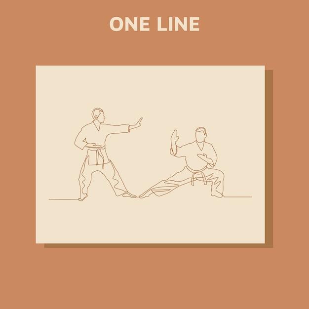 Kontinuierliche strichzeichnung von zwei männlichen karate-athleten Premium Vektoren
