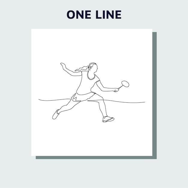 Kontinuierliches zeichnen einer linie einer person, die badminton spielt Premium Vektoren
