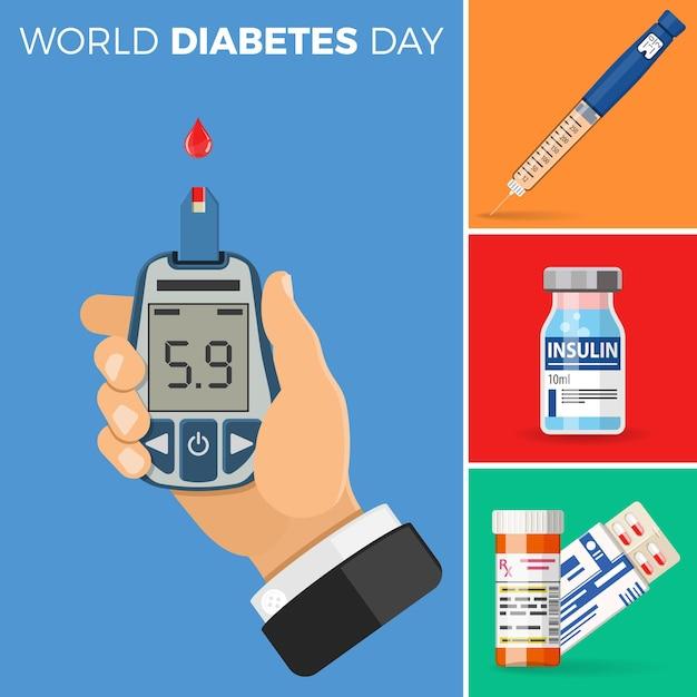 Kontrollieren sie ihr diabetes-konzept. weltdiabetestag. Premium Vektoren