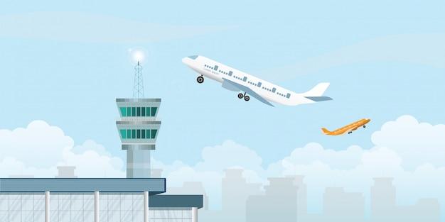 Kontrollturm mit dem flugzeug, das vom flughafen sich entfernt. Premium Vektoren