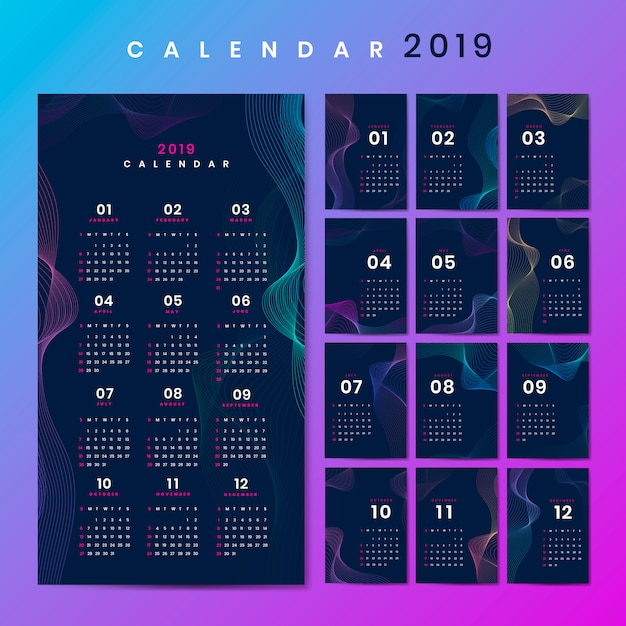 Konturdesign-kalender-modell Kostenlosen Vektoren