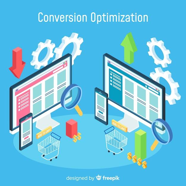 Konvertierungsoptimierungskonzept mit isometrischer ansicht Kostenlosen Vektoren
