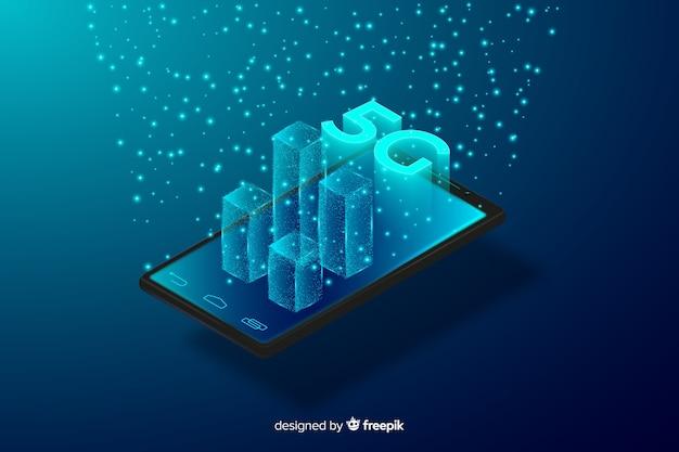 Konzept 5g, das aus telefonhintergrund herauskommt Kostenlosen Vektoren