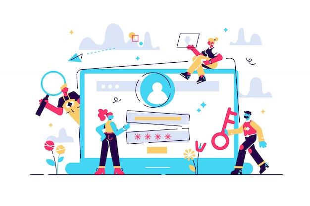Konzept anmeldeseite auf dem computerbildschirm. desktop-computer mit anmeldeformular und anmeldeschaltfläche für webseite, banner, präsentation, soziale medien, dokumente, poster. abbildung, benutzerkonto Premium Vektoren