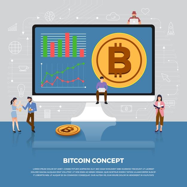 Konzept bitcoin kryptowährung. bitcoin und grafikdiagramm des gruppenentwicklungssymbols der gruppe. veranschaulichen. Premium Vektoren