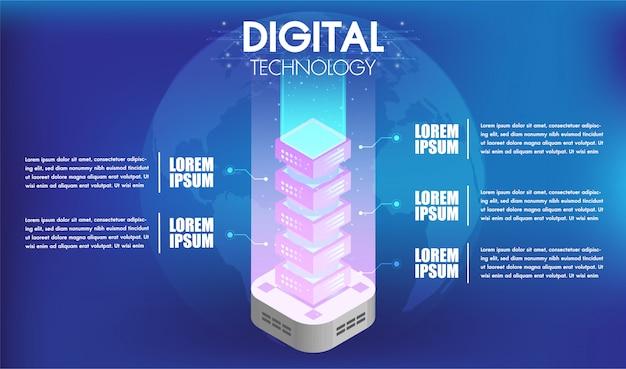 Konzept der big-data-technologie verarbeitung mit 5 optionen oder schritten infografiken server Premium Vektoren