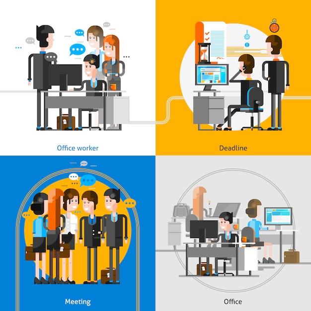 Konzept der büro-leute-2x2 Kostenlosen Vektoren