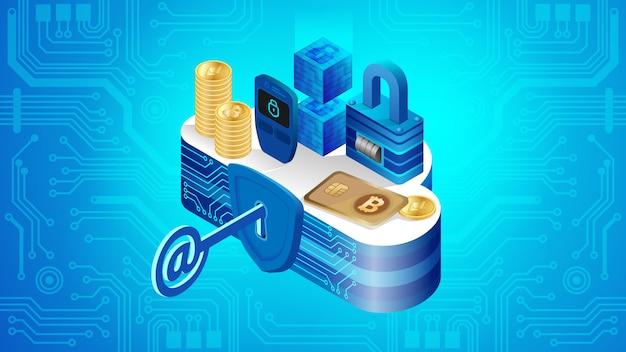 Konzept der cloud-finanzsystemsicherheit Premium Vektoren