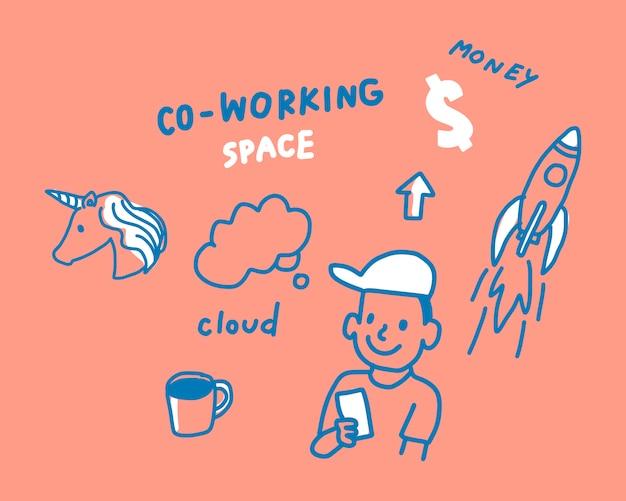 Konzept der coworking raumabbildung Kostenlosen Vektoren