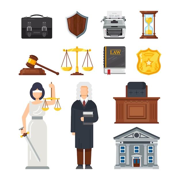 Konzept der darstellung des justizsystems. Premium Vektoren