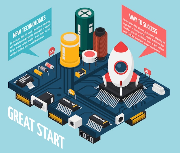 Konzept der elektronischen halbleiterkomponenten Kostenlosen Vektoren