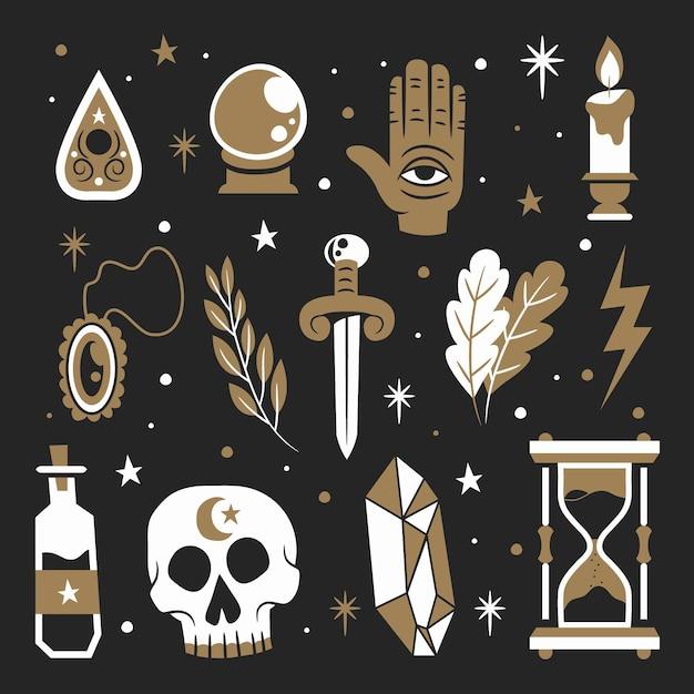 Konzept der esoterischen mystischen elemente Kostenlosen Vektoren