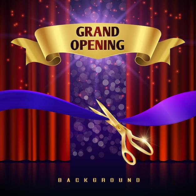 Konzept der festlichen eröffnung mit roten vorhängen. grand event offen mit rotem vorhang und geschnittenem bandkrank Premium Vektoren