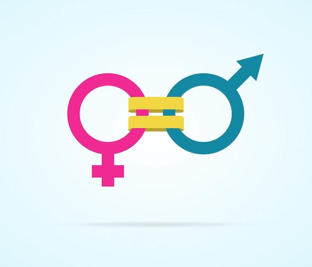 Konzept der gleichstellung der geschlechter mit geschlechtssymbolen Premium Vektoren