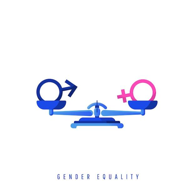 Konzept der gleichstellung der geschlechter. symbole zum ausgleich des geschlechts auf mechanischen metallwaagen. illustrationsikone in einem flachen stil. Premium Vektoren