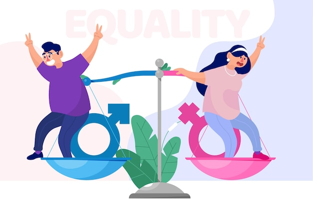 Konzept der gleichstellung der geschlechter Kostenlosen Vektoren