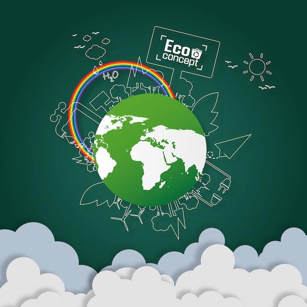 Konzept der grünen ökoerde. papierkunstentwurf Premium Vektoren