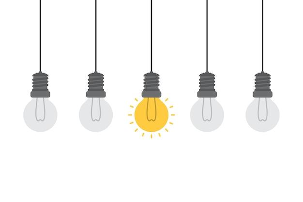 Konzept der hellen idee und des einblickes mit glühlampe. Premium Vektoren