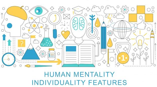 Konzept der individualität der menschlichen mentalität Premium Vektoren