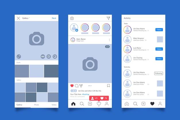 Konzept der instagram-profilschnittstellenvorlage Kostenlosen Vektoren