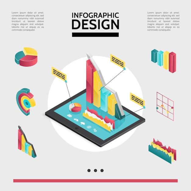 Konzept der isometrischen infografikelemente mit diagrammen, diagrammen und diagrammen auf der bildschirmdarstellung des tablets Kostenlosen Vektoren