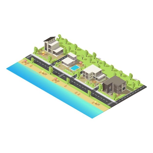 Konzept der isometrischen küstenvorstadtgebäude Kostenlosen Vektoren