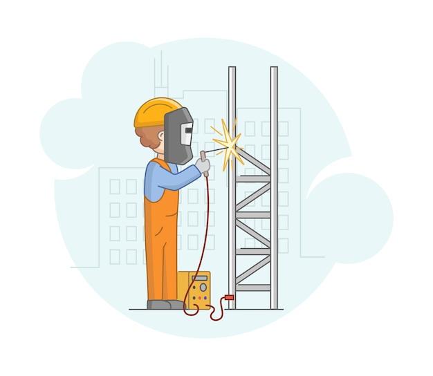 Konzept der konstruktion. professioneller arbeiter mann in schutzuniform und maskenschweißen metallarbeiten mit schweißmaschine. bauarbeiter bei der arbeit. Premium Vektoren