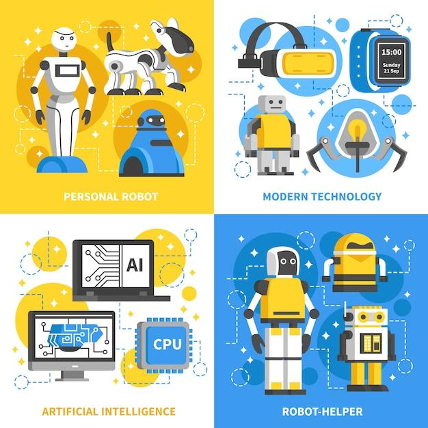 Konzept der künstlichen intelligenz 2x2 Kostenlosen Vektoren